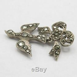 Antique French Victorian Sterling Silver St. Esprit Bird Bow Marcasite Pendant