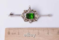 Antique Georgian Victorian Sterling Silver Green Foil Backed Paste Brooch