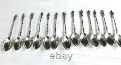 Antique Gorham Full Set Apostles Small Sterling Silver 6 Tea Spoons & Booklet