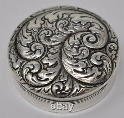 Antique Gorham Sterling Silver Repousse Pill Box 2.25
