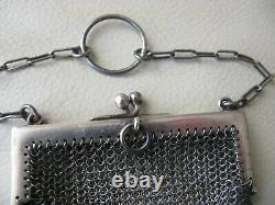 Antique HALLMARKED STERLING SILVER Chatelaine Finger Ring Mesh Coin Purse E G B