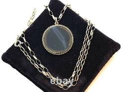 Antique Late Victorian Sterling Silver Banded Agate Pendant Necklace