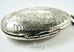 Antique Locket Blue Willow Pattern Sterling Silver Engraved Victorian Edwardian