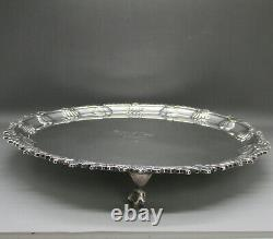 Antique Ornate Large Heavy Solid Sterling Silver Salver Tray 31.3cm London 1901