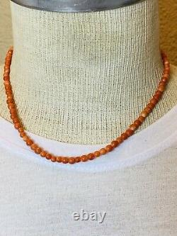 Antique Red Salmon Coral Beads Necklace Fine Genuine Choker 6mm Sterling Silver