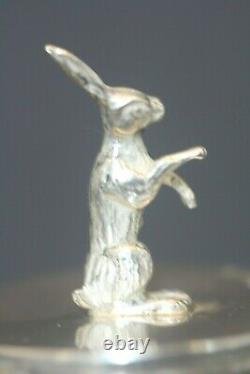 Antique Russian Sterling 84 Imperial Russian Hunting Egg Figural Rabbit Signed
