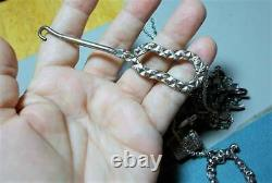 Antique SEWING CHATELAINE Sterling Scroll Scissors Thimble Button Hook Pin Neckl