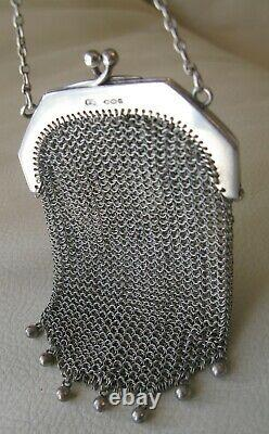 Antique SHEFFIELD STERLING Silver Finger Ring Mesh Chatelaine Coin Purse 1932