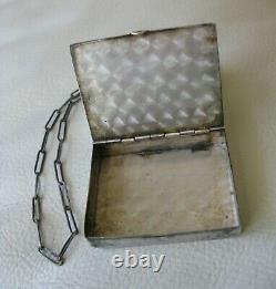 Antique STERLING Silver Engraved Chatelaine Compact Stamp Box Case Purse 1917