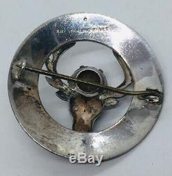 Antique Scottish Victorian Sterling Silver Deer Stag Citrine Pin