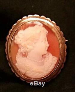 Antique Shell Cameo Solid Sterling Silver Gold Brooch Pendant Victorian Vtg