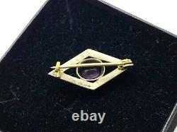 Antique Small Victorian Sterling Silver Amethyst & Seed Pearl Brooch Lace Pin