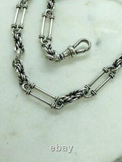 Antique Solid Silver Albert Pocket Watch Chain T Bar Dog Clip Sterling Twisted