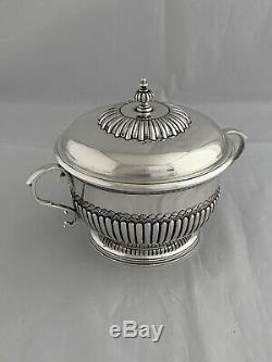 Antique Solid Silver Sugar Bowl And Lid 1916 London Sterling Sweet Bowl
