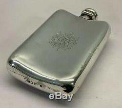 Antique Solid Sterling Silver Spirit Hip Flask London 1875 Victorian Twist Lift