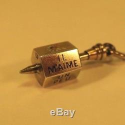 Antique Sterling LOVES ME / LOVES ME NOT CHARM Victorian French 900 Silver