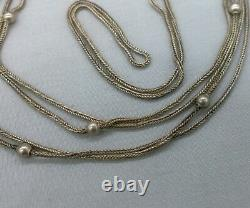 Antique Sterling Silver Long Watch Chain Guard Beads Foxtail 48 11.14 Grams