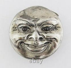 Antique Sterling Silver Man in The Moon Large Vesta Match Case