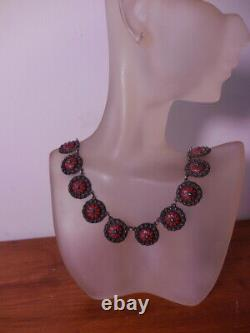 Antique Sterling Silver Red Enamel Victorian Necklace Vintage Jewelry
