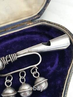 Antique Sterling Silver Trumpet Bugle Whistle Baby Rattle 925