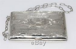 Antique Sterling Silver Victorian Coin & Card Purse