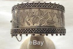 Antique Sterling Silver Victorian Hand Etched Cuff Bracelet 1.25 Wide 45g