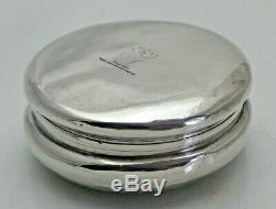 Antique Sterling Solid Silver Pill Box with Armorial Family Crest (1651/B/ONY)