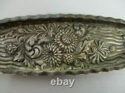 Antique Theodore B Starr Sterling Silver Repousse Flowers Vanity Pin Tray