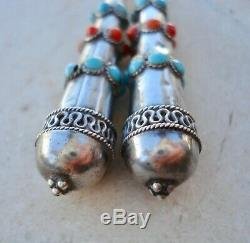 Antique VICTORIAN ETRUSCAN 925 Sterling Silver TURQUOISE & CORAL Dangle Earrings