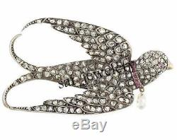 Antique Victorian 5.60ct Rose cut Diamond & Ruby Sterling Silver Brooch Pin