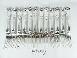 Antique Victorian 88pc 12 Twelve Place Sterling Silver Cutlery Set Kings Pattern