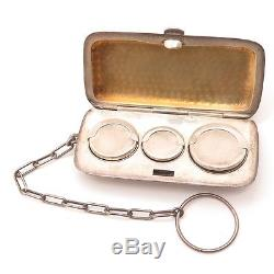 Antique Victorian 925 Sterling Silver Etched Design Chatelaine Coin Purse