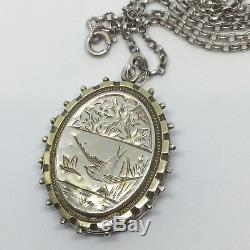 Antique Victorian Aesthetic Sterling Silver Engraved Bird and Fern Leaves Locket