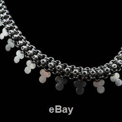 Antique Victorian Aesthetic Sterling Silver Star Belcher Chain Collar Necklace