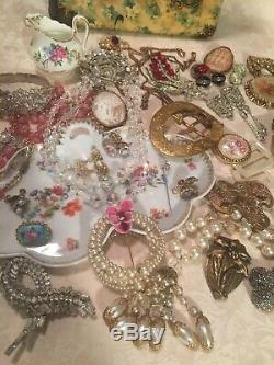 Antique Victorian Art Deco Signed Vintage Jewelry Lot Sterling Shell Cameos GF +