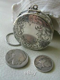 Antique Victorian Art Nouveau Engraved STERLING SILVER Chatelaine Puff Compact