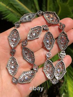 Antique Victorian Art Nouveau French Crystal Paste Open Sterling Silver Necklace