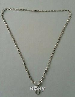 Antique Victorian Beautiful Moonstone Sterling Silver Pendant Necklace Chain