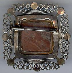 Antique Victorian Beauty Petrified Wood Agate & Sterling Silver Pin Brooch