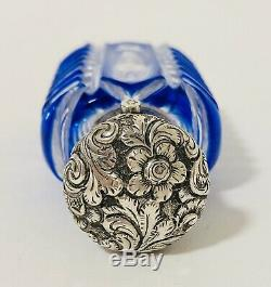Antique Victorian Blue Overlay Cut Glass Scent Bottle Solid Sterling Silver Top