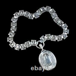 Antique Victorian Buckle Locket And Collar Necklace Sterling Silver Circa 1880