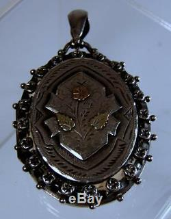 Antique Victorian C1886 Aesthetic Movement English Sterling Silver & Gold Locket