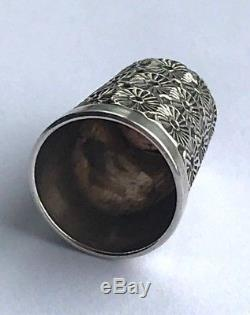 Antique Victorian Cased Sterling Silver Sewing Set Scissors & Thimble 1898