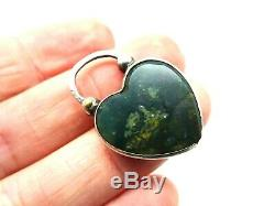 Antique Victorian Chased Sterling Silver Bloodstone Opening Pendant Clasp. F216F