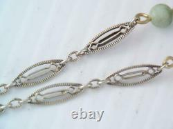 Antique Victorian Chinese Sterling Silver Carved Green Jade Bracelet
