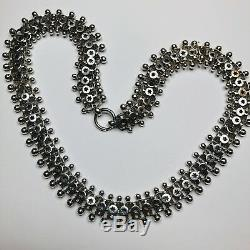 Antique Victorian Chunky Wise Sterling Silver Collar Necklace C1880