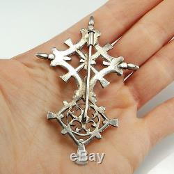 Antique Victorian Coptic Cross Crucifix Brooch Pin French Sterling Silver 925