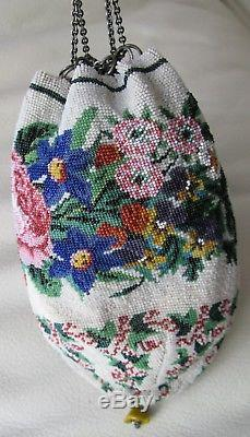 Antique Victorian Crochet Floral Micro Bead STERLING Ring & Drawstring Purse