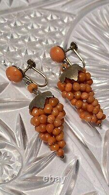 Antique Victorian Earrings Genuine Natural Pink Salmon Coral Dangle Sterling