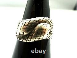 Antique Victorian English Sterling Silver Double Snake Ring c1900. F183F